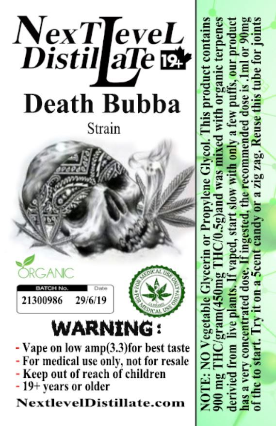 Death Bubba .5/1ml THC Vaporizer 510 Thread Cartridges 510 Thread