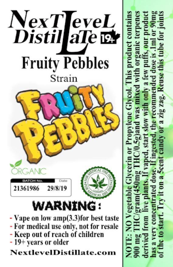 Fruity Pebbles .5/1ml THC 510 Thread Vaporizer Cartridge by Next Level Distillate Cartridges 510 Thread