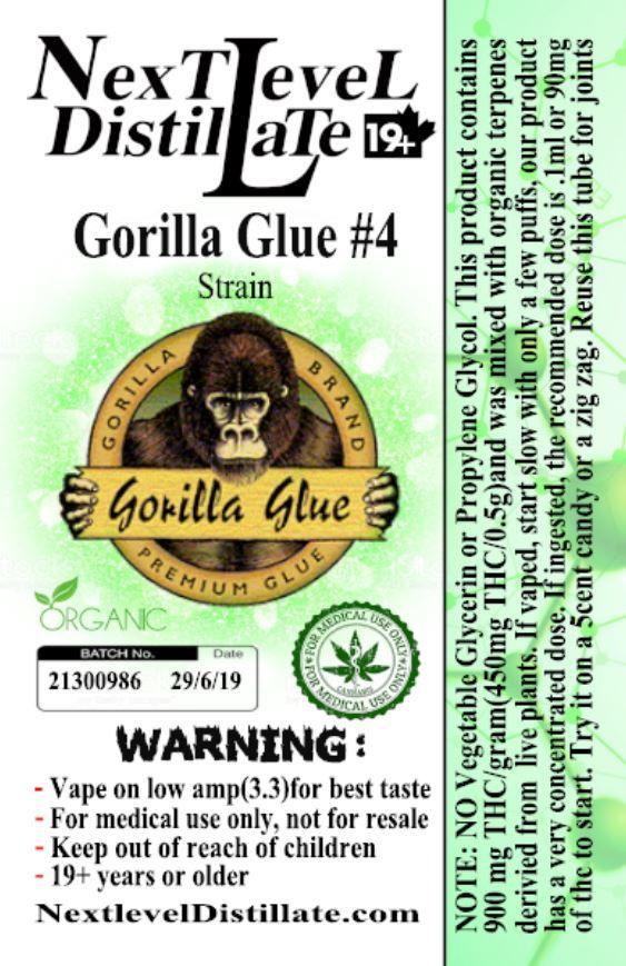 Gorilla Glue #4 .5/1ml THC 510 Thread Vaporizer Cartridge by Next Level Distillate Cartridges 510 Thread