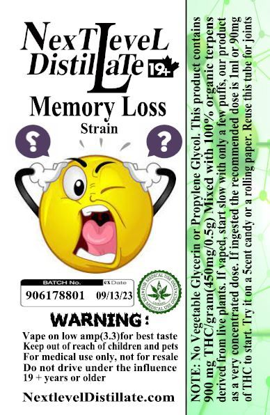 Memory Loss .5/1ml THC 510 Thread Vaporizer Cartridge by Next Level Distillate Cartridges 510 Thread