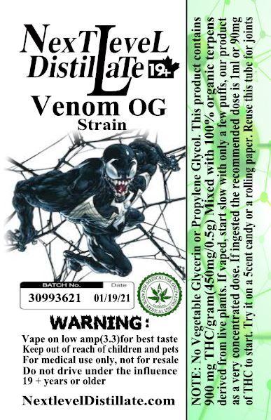 Venom OG .5/1ml THC 510 Thread Vaporizer Cartridge by Next Level Distillate Cartridges 510 Thread