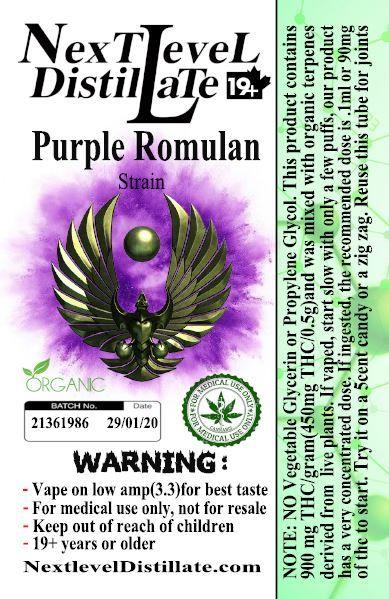 Purple Romulan .5/1ml THC 510 Thread Vaporizer Cartridge by Next Level Distillate Cartridges 510 Thread