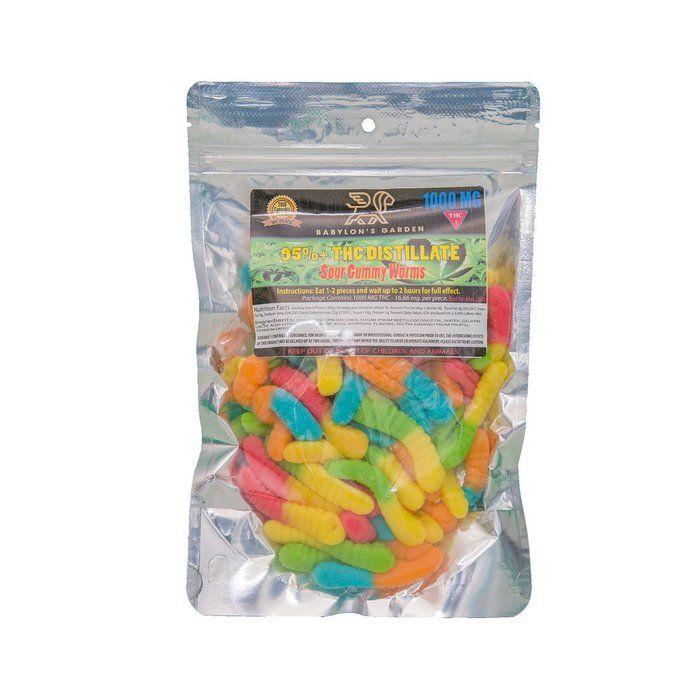 Babylon's Garden Sour Gummy Worms 1000mg Edibles Gummies