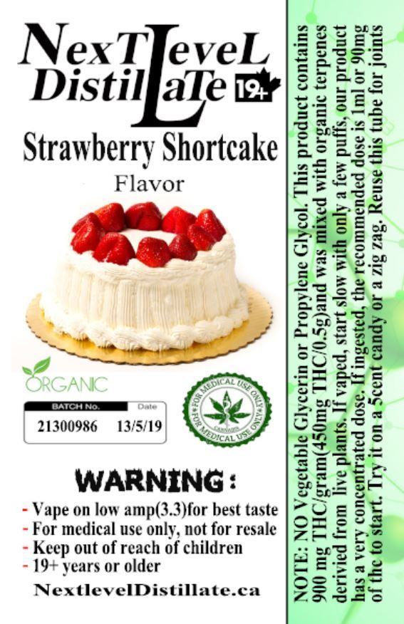 Strawberry Shortcake .5/1ml THC 510 Thread Vaporizer Cartridge by Next Level Distillate Cartridges 510 Thread