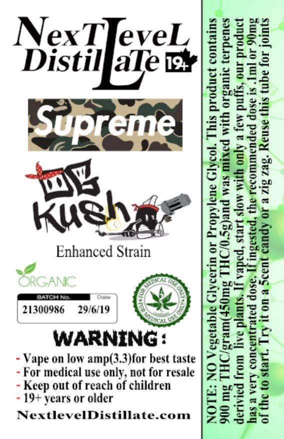 Supreme OG Kush .5/1ml THC 510 Thread Vaporizer Cartridge by Next Level Distillate Cartridges 510 Thread